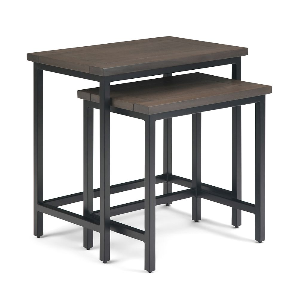 Simpli Home Skyler Solid Wood 2 Pc Nesting Side Table