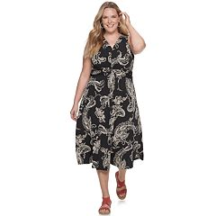 Plus Size Dana Buchman Knot Front Midi Dress