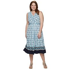 be7054938a Plus Size Dana Buchman Knot Front Midi Dress