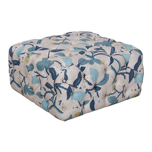 HomePop Large Square All-Over Tufted Floral Ottoman