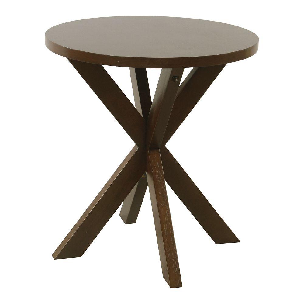 HomePop Round Dark Walnut Wood Accent Table
