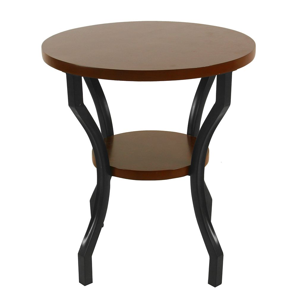 HomePop Small Round Wood & Metal Accent Table