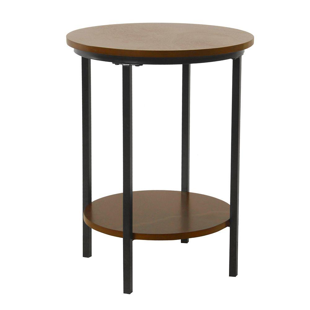 HomePop Large Round Wood & Metal Accent Table in Dark Walnut