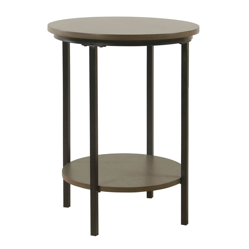 HomePop Large Round Wood & Metal Accent Table in Gray Wash