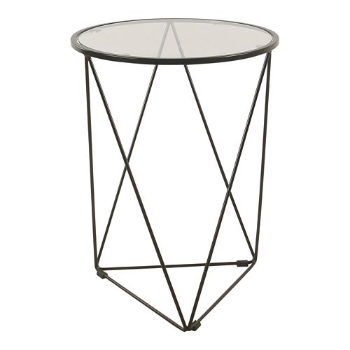 HomePop Metal & Glass Triangle Accent Table
