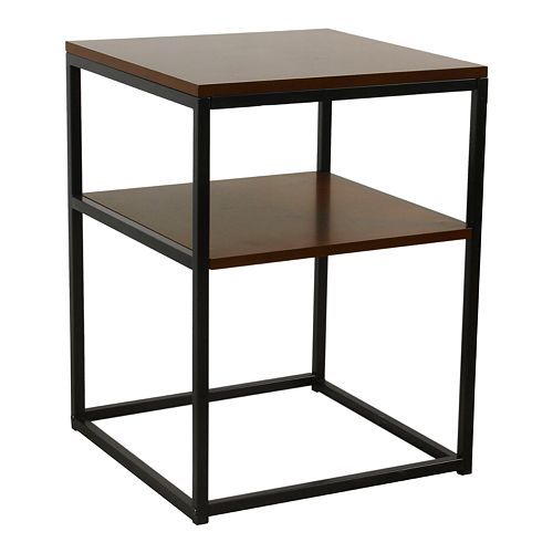 HomePop Square Wood and Metal Accent Table in Dark Walnut