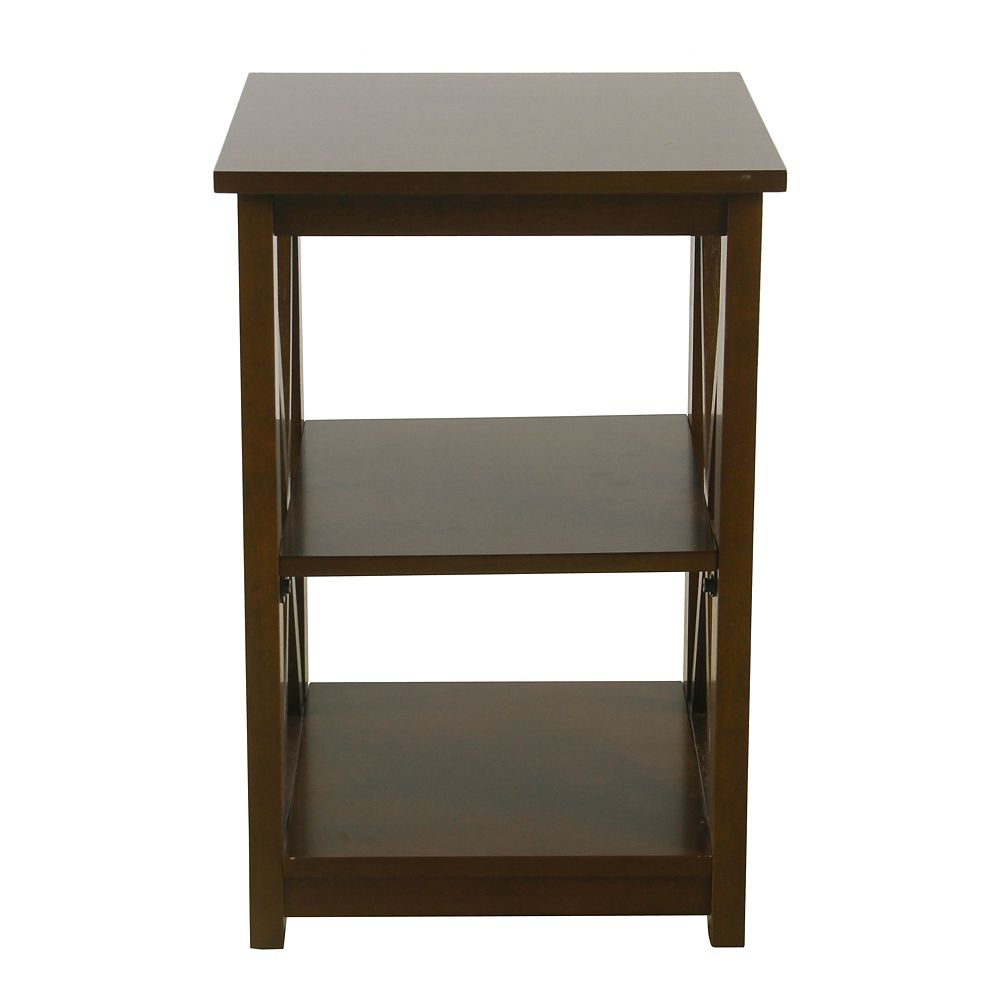 HomePop Square Wood Accent Table in Dark Walnut