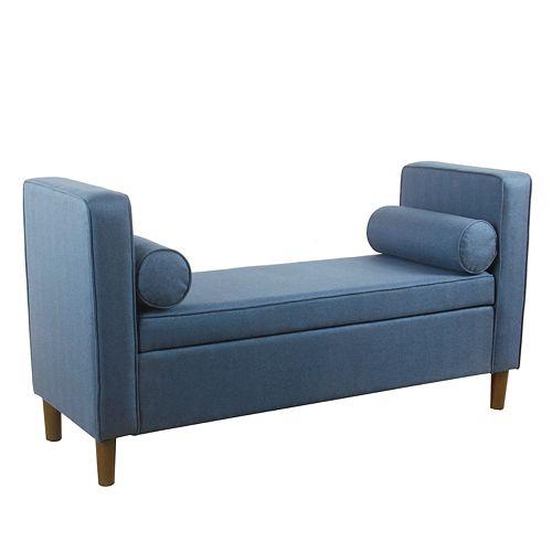HomePop Rimo Upholstered Navy Storage Bench