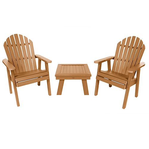 highwood 2 Hamilton Deck Chairs with 1 Adirondack Side Table