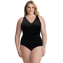 c45faff52f7 Plus Size Croft & Barrow® V-Neck Princess Seam One-Piece Swimsuit