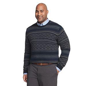 Big & Tall Van Heusen Flex Classic-Fit Fairisle Crewneck Sweater