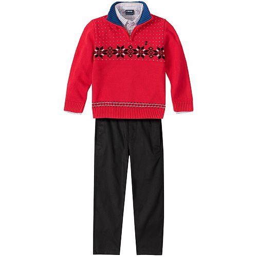 Boys 4-7 IZOD Quarter-Zip Sweater, Pants & Shirt Set