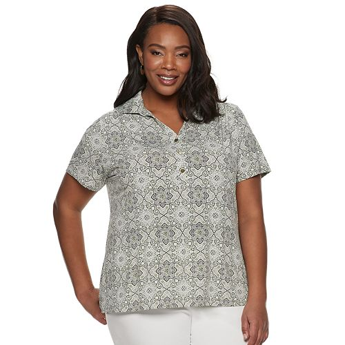 Plus Size Croft & Barrow Short Sleeve Collared Popover Top