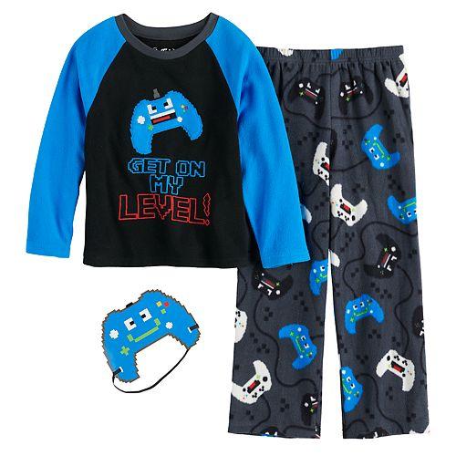 Boys 6-12 Up-Late Space 2-Piece Pajamas & Mask Set
