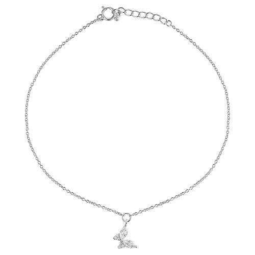 Primrose Cubic Zirconia Marquise Butterfly Anklet