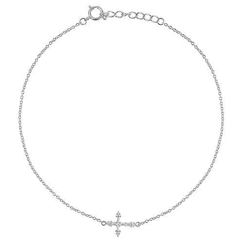 Primrose Sterling Silver Cubic Zirconia Cross Anklet