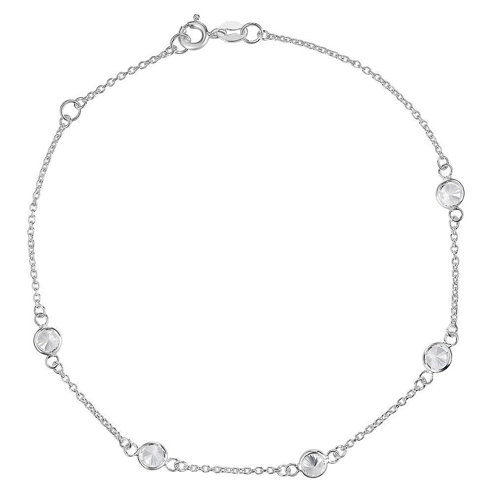 Primrose Sterling Silver Cubic Zirconia Anklet