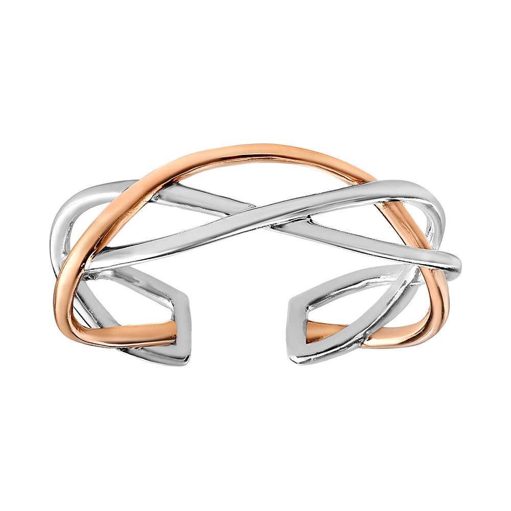 Primrose Two Tone Sterling Silver and 18k Rose Gold Plated Twisted Toe Ring