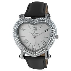 Peugeot Women's Heart-Shaped Crystal Accent Leather Watch