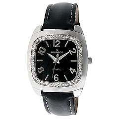 Peugeot Women's Crystal Accent Leather Watch