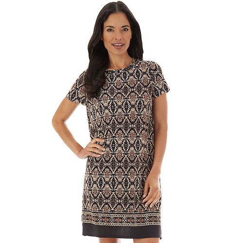 Women's Apt. 9® Border Print Ity Cap Sleeve Swing Dress