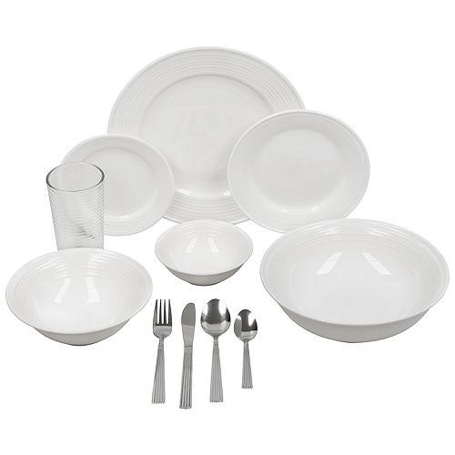 10 Strawberry Street Ringed Rim 62-pc. Round Dinnerware Set