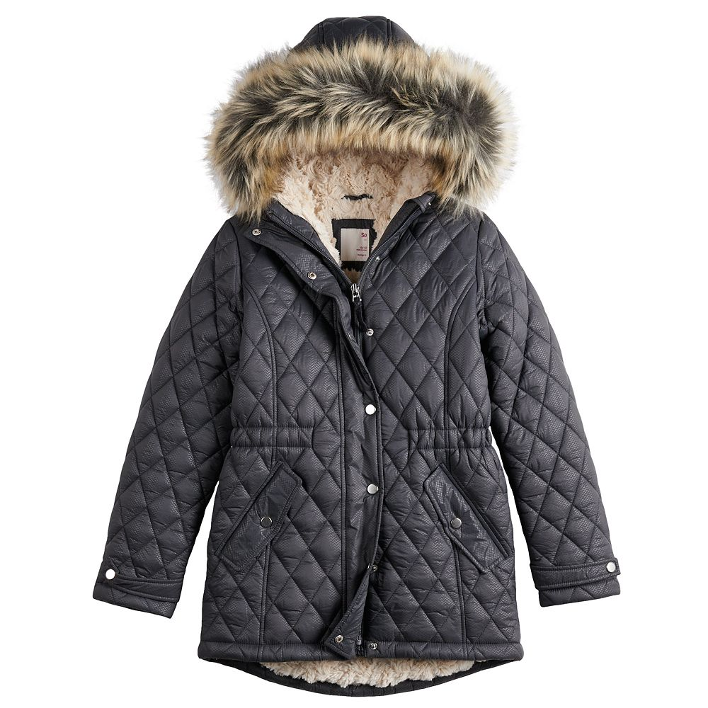Girls 4-20 SO® Faux Fur Lined Quilted Parka Jacket