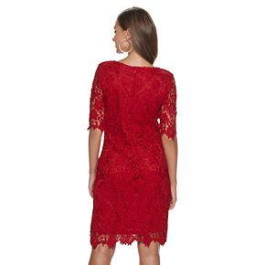 Womens' Nina Leonard Scalloped Edge Lace Sheath Dress