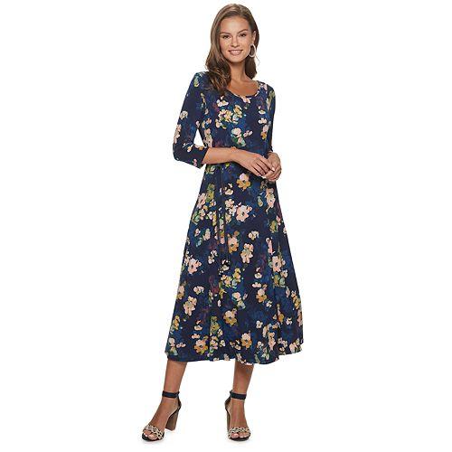 Womens' Nina Leonard Printed 3/4 Sleeve Sylvia Dress