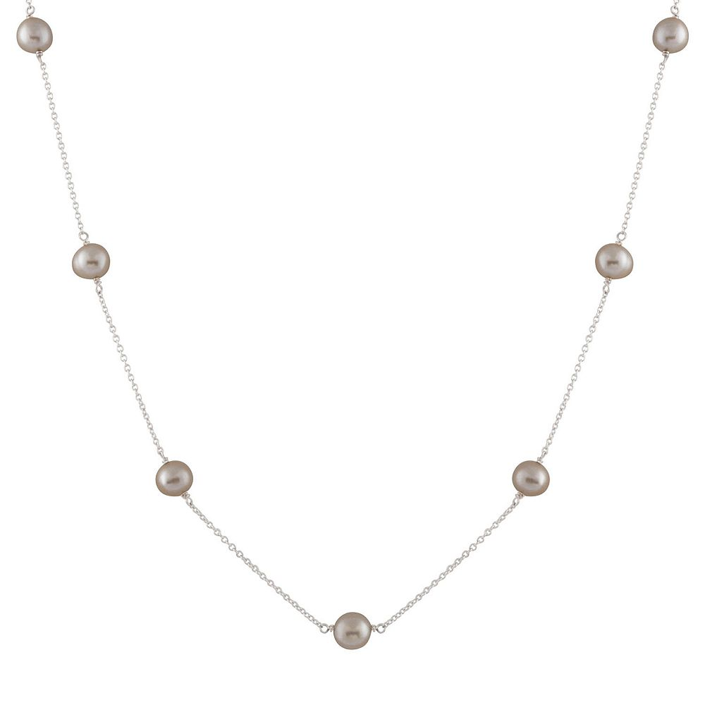 Sterling Silver Freshwater Cultured Pearl Station Necklace