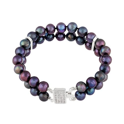 Freshwater Cultured Pearl & Cubic Zirconia Double Row Bracelet