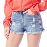 Juniors' Unionbay Sport Stripe Destructed Denim Shorts