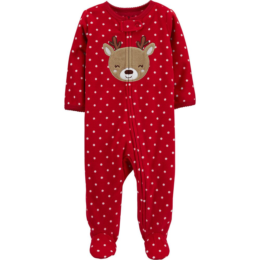 Baby Girl Carter's Reindeer Zip Fleece Sleep & Play