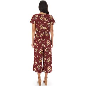 Women's Apt. 9® Print Split Flutter Short Sleeve Cropped Jumpsuit
