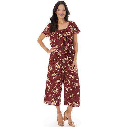 Women's Apt. 9® Print Split Flutter Short Sleeve Cropped Jumpsuit