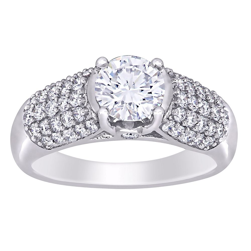 Stella Grace 14k White Gold 3/4 ct. T.W. Lab-Created Moissanite & 1/2 ct. T.W. Diamond Engagement Ring