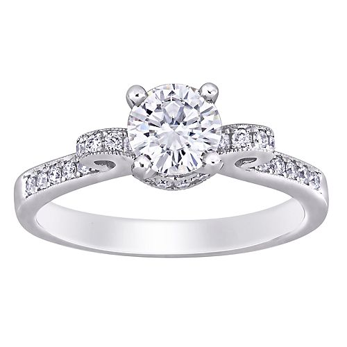 Stella Grace 14k White Gold Lab-Created Moissanite & 1/4 ct. T.W. Diamond Engagement Ring
