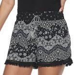 Juniors' Mudd® Smocked Waistband Fringed Hem Shorts