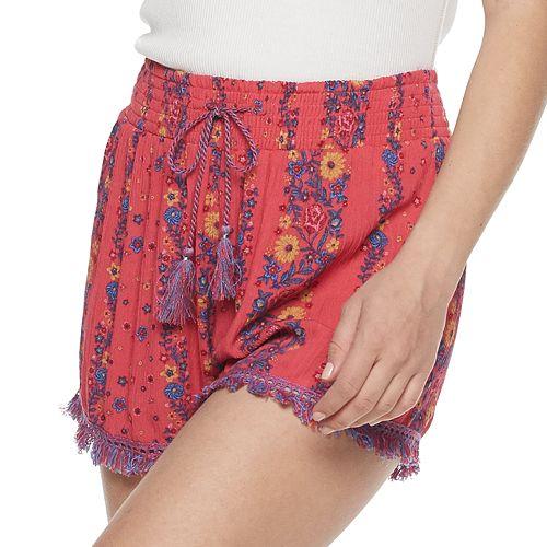 Juniors' Mudd® Smocked Waistband Shorts