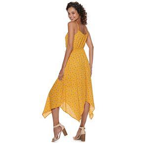 Juniors' Trixxi Print Ruched Handkerchief-Hem Dress