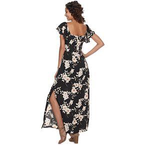 Juniors' Trixxi Floral Cutout-Keyhole Maxi Dress