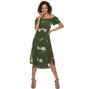 10a68b69ef4 Juniors  Trixxi Print Knot-Front Midi Dress. Sale