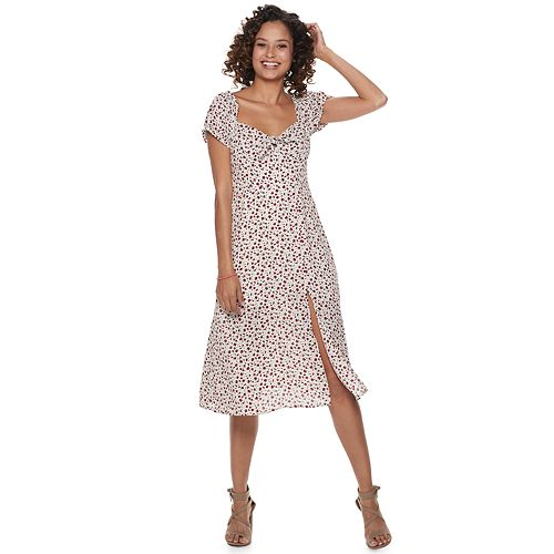 Juniors Trixxi Print Knot Front Midi Dress