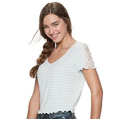 Juniors' American Rag Lace-Up Ribbed Baby Tee