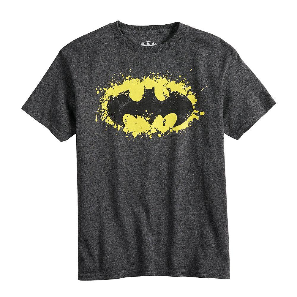 Boy's 8-20 Batman-Shield Charcoal Short Sleeve Tee