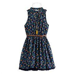 84ffbac5118530 Girls' Knitworks Sleeveless Halter Shirt Skater Dress/Belt/Necklace