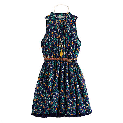 Girls' 7-16 Knitworks Sleeveless Halter Shirt Skater Dress With Belt/Necklace