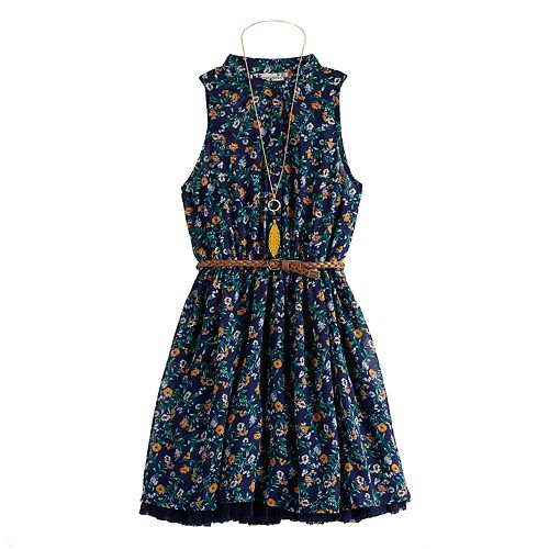 Girls' 7-16 Knitworks Sleeveless Halter Shirt Skater Dress With Belt/Necklace