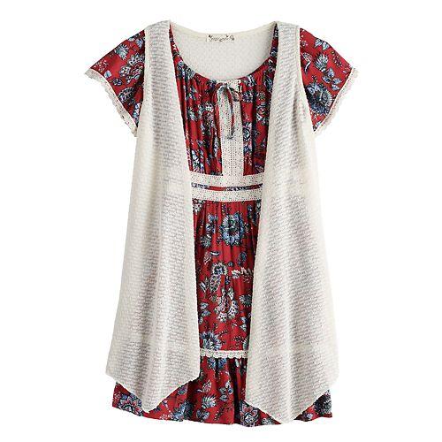 Girls 7-16 & Plus Size Knitworks Printed Dress & Sleeveless Cardigan Set