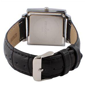 Peugeot Men's Modern Rectangular Leather Watch